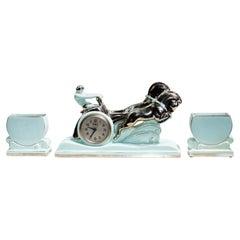 "Stunning Art Deco Enamel Ceramic Sculpture ""Ben Hur Horse Racing Chariot"""
