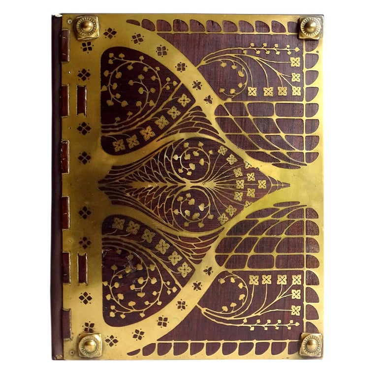Antique Art Deco Document & Letter Holder, Brass & Rosewood