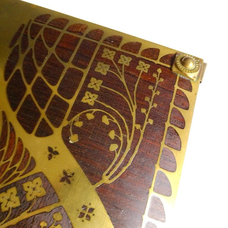Antique Art Deco Document & Letter Holder, Brass & Rosewood 6