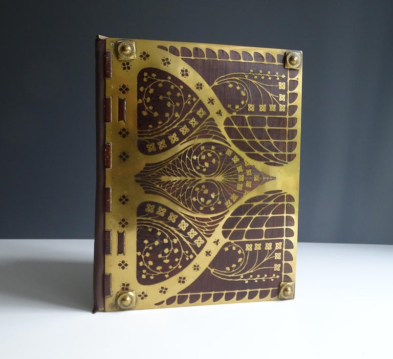 European Antique Art Deco Document & Letter Holder, Brass & Rosewood