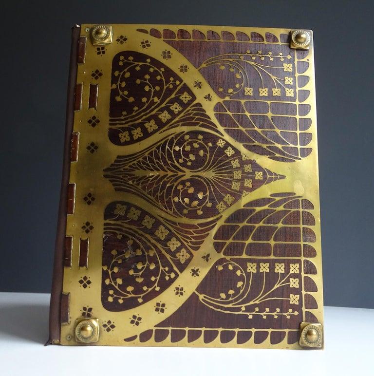 Antique Art Deco Document & Letter Holder, Brass & Rosewood In Good Condition In Bremen, DE