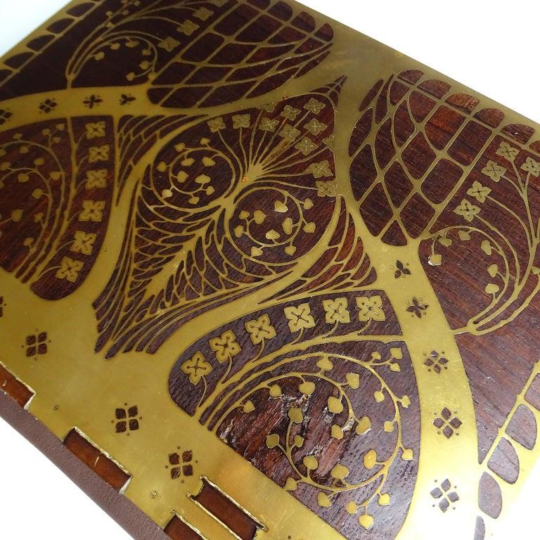 Antique Art Deco Document & Letter Holder, Brass & Rosewood 2