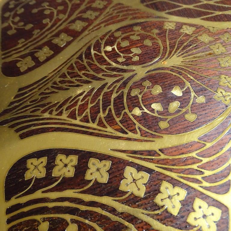 Antique Art Deco Document & Letter Holder, Brass & Rosewood 4