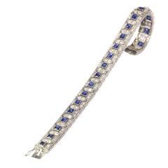 Stunning Art Deco Platinum Diamond and Sapphire Bracelet