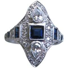 Stunning Art Deco Style Platinum Diamond and Sapphire Navette Ring, 1.41 Carat