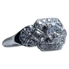 Stunning Art Deco Platinum Diamond Ring Engagement Ring, 1.60 Carat