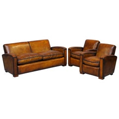 Stunning Art Deco Restored Whisky Brown Leather Sofa & Pair of Armchairs Suite
