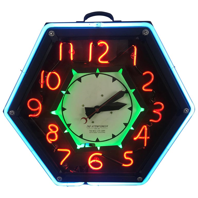"Stunning Art Deco Style Neon Number, Neon Clock, ""The Attentioneer"" Classic For Sale"