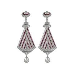 Stunning Art Deco Style Platinum 2.20 Carat of Rubies and Diamond Earrings