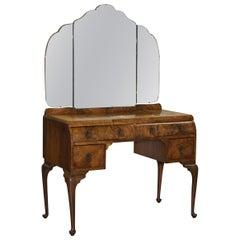 Stunning Art Deco Walnut Dressing Table Cabriolet Legs Part of Bedroom Suite