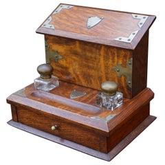 Stunning Arts & Crafts Era Oak Stationary Box with Glass Inkwells & Letter Rack