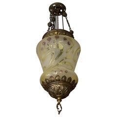 Stunning Arts & Crafts Gothic Brass & Mouth Blown Art Glass Pendant / Lantern