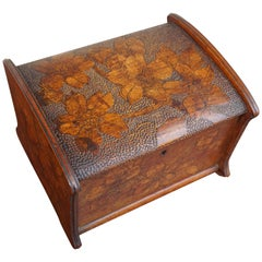 Stunning Arts & Crafts Box with Finest Hand Carved Flower Patterns in Bas Relief