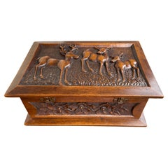 Stunning Arts & Crafts Box with Hand Carved Deer Sculptures in Deep Relief, 1910