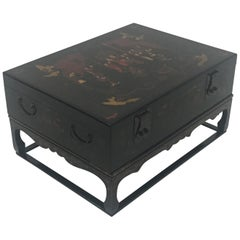 Stunning Asian Black Laquer Box on Custom Stand Coffee Table