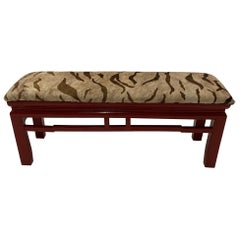 Stunning Asian Cinnabar Red Lacquer Bench Upholstered in Printed Cowhide