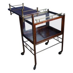 Stunning Asymmetrical Arts & Crafts Wood, Brass & Glass Drinks Trolley or Cart