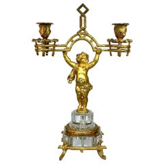 Stunning Baccarat, Fire-Gilded Bronze Putto Candlestick, Napoleon III