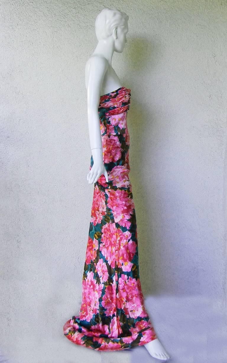 Purple Balenciaga by Ghesquiere Floral Pattern Gown, S / S 2008  For Sale