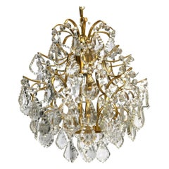 Stunning Beautiful Gold-Plated Chandelier by Palwa, vintage German, 1960s