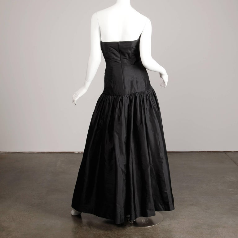 Women's Stunning Bergdorf Goodman on the Plaza Vintage Black Silk Evening Gown or Dress For Sale