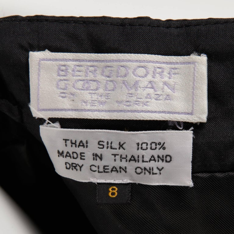 Stunning Bergdorf Goodman on the Plaza Vintage Black Silk Evening Gown or Dress For Sale 2