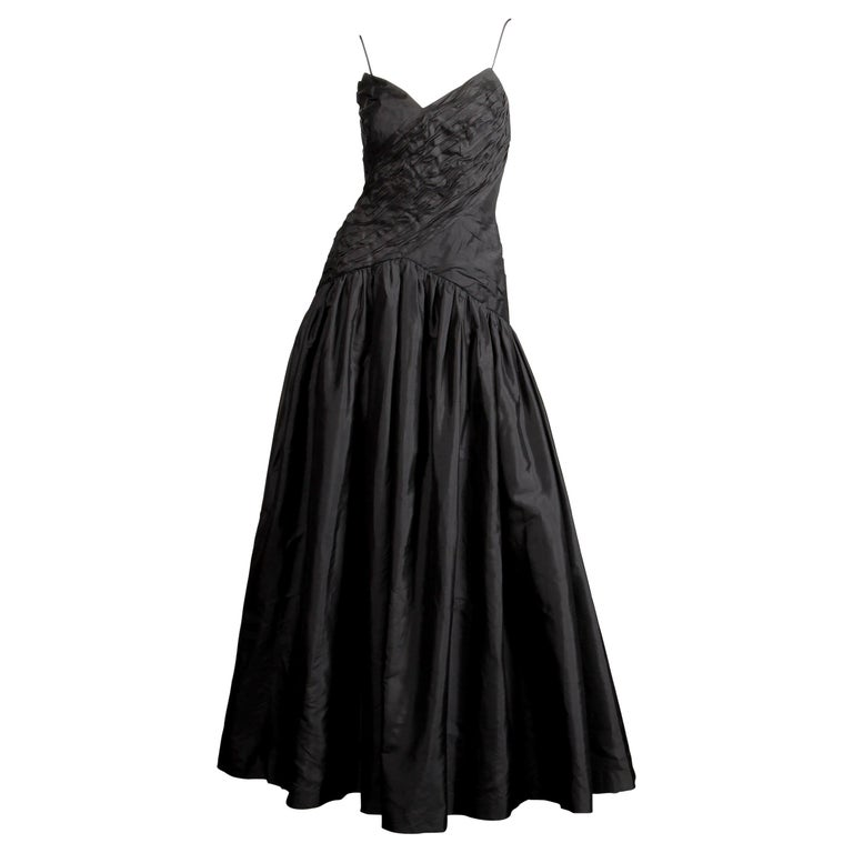 Stunning Bergdorf Goodman on the Plaza Vintage Black Silk Evening Gown or Dress For Sale