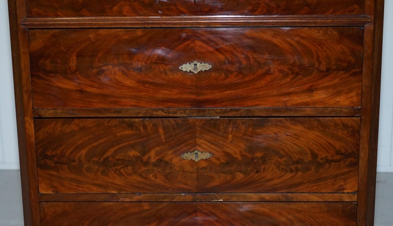 Stunning Biedermeier Flamed Mahogany Small Chest of Drawers Rare Find circa 1820 For Sale 4