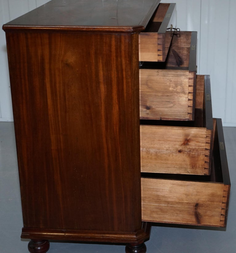Stunning Biedermeier Flamed Mahogany Small Chest of Drawers Rare Find circa 1820 For Sale 13