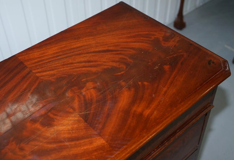 Stunning Biedermeier Flamed Mahogany Small Chest of Drawers Rare Find circa 1820 For Sale 2