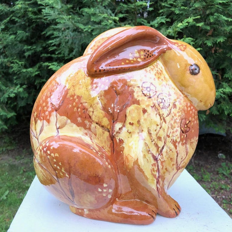 20th Century Stunning Big Rabbit Handmade Hand Painted Master Artisan Eva Fritz-Lindner For Sale