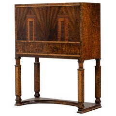 Stunning Birch Desk from the 1920s, Key Included