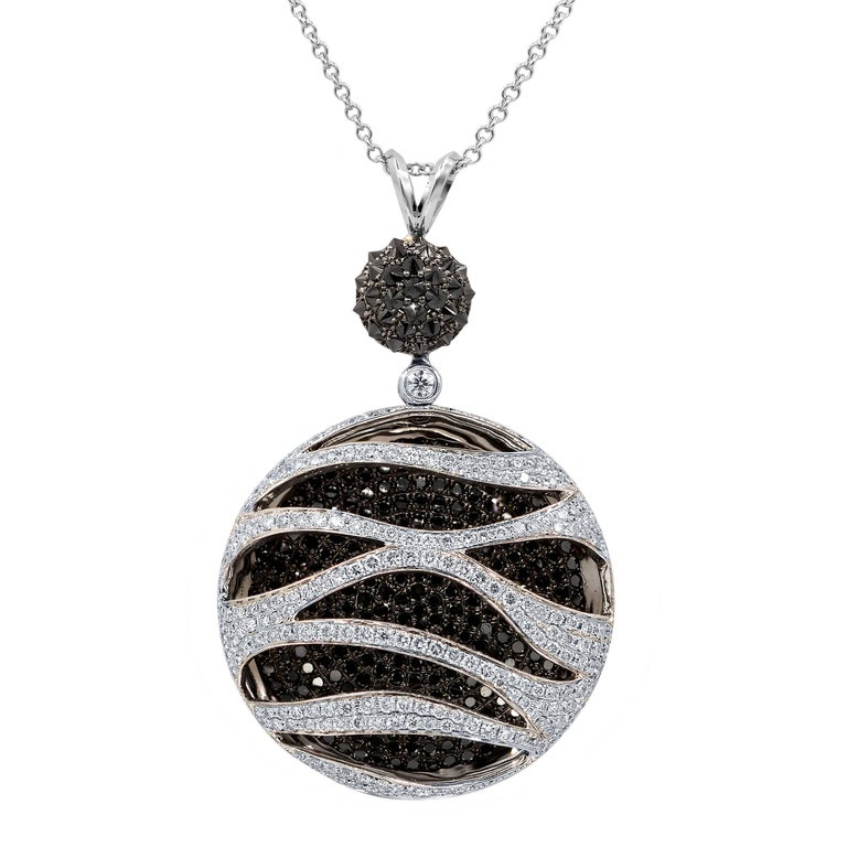Stunning Black and White Diamond Pendant For Sale
