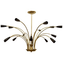 Stunning Black Enamel and Brass Chandelier in the Style of Stilnovo