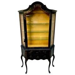 Stunning Black & Gold Chinoiserie Curio Cabinet Vitrine