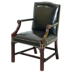 Stunning Black Leather Thomas Chippendale Style Gainsborough Carver Armchair