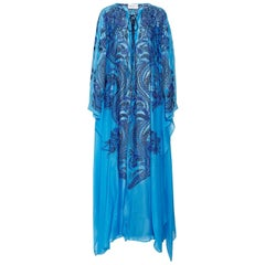 Stunning Blue Emilio Pucci by Lace Up Hand-Embroidered Maxi Kaftan Dress