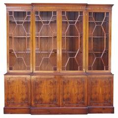 Stunning Bradley Huge Burr Yew Wood Breakfront Bookcase with Adjustable Shelves