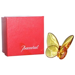 Stunning Brand New Baccarat Crystal Butterfly in Burn Orange Color Boxed