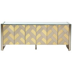 Stunning Brass and Chrome Chevron Cabinet by Ello