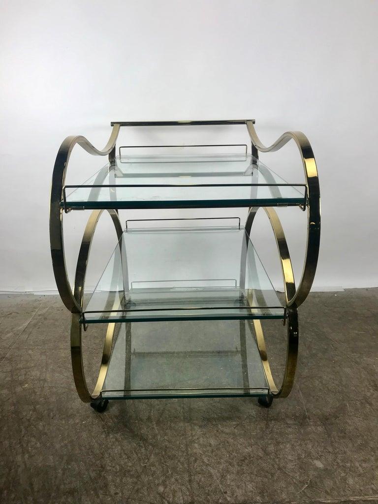 Streamlined Moderne Stunning Brass and Glass Modernist Tea or Bar Cart For Sale