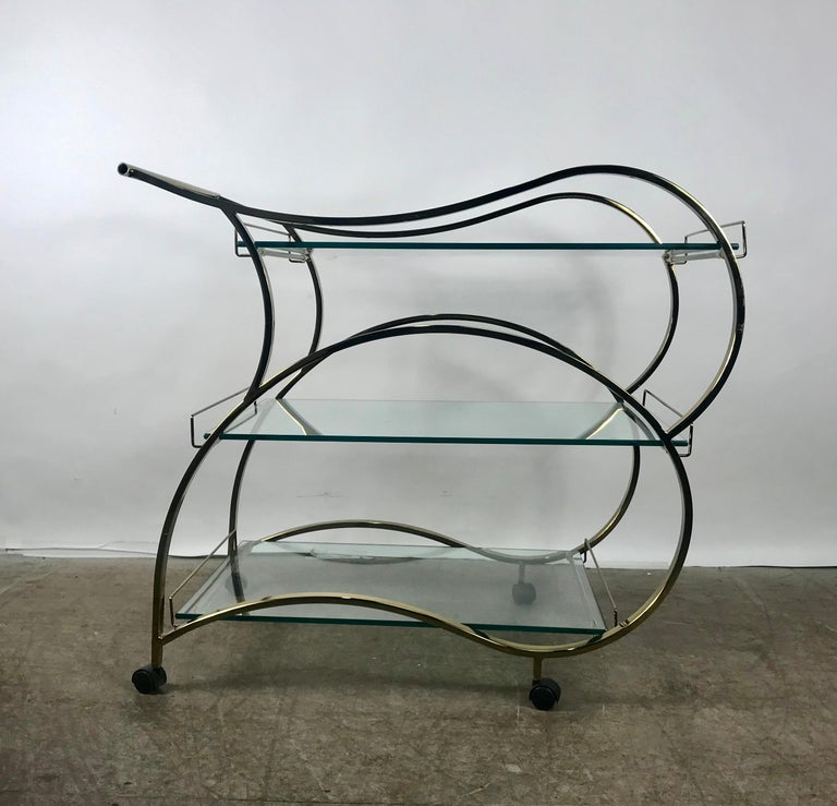 Polished Stunning Brass and Glass Modernist Tea or Bar Cart For Sale