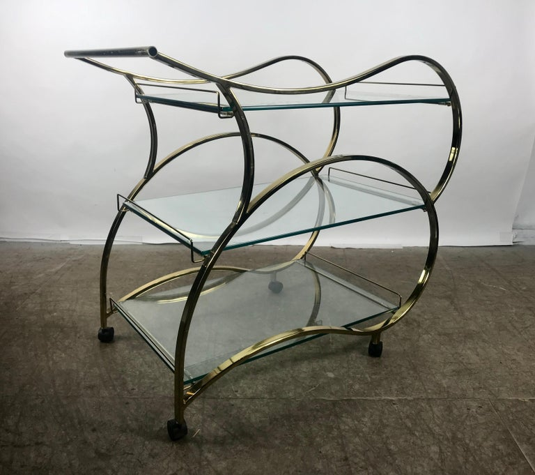 Stunning Brass and Glass Modernist Tea or Bar Cart In Good Condition For Sale In Buffalo, NY