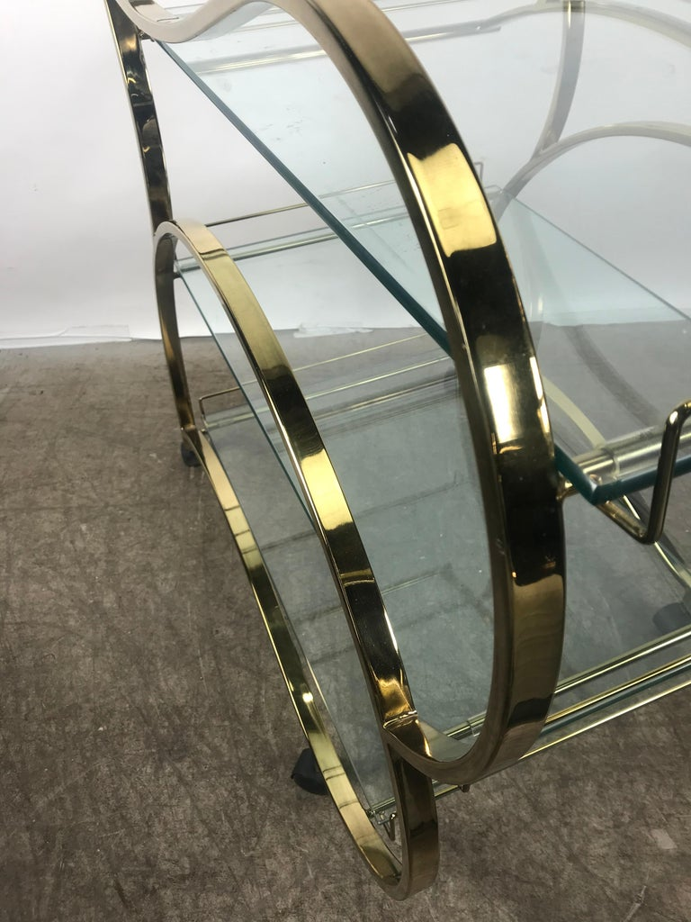 Late 20th Century Stunning Brass and Glass Modernist Tea or Bar Cart For Sale