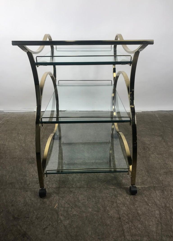 Stunning Brass and Glass Modernist Tea or Bar Cart For Sale 1