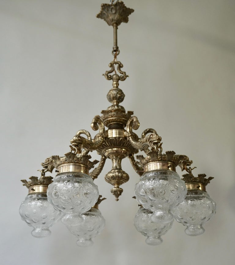Stunning Brass Chandelier in Gothic or Medieval Style with Dragon Sculptures For Sale 3