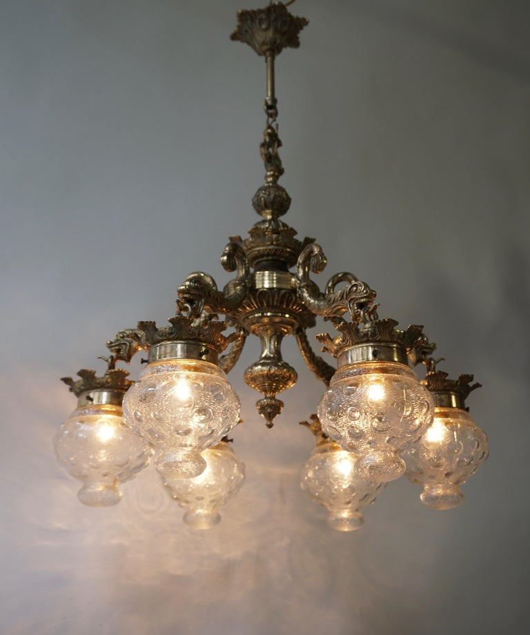 Hollywood Regency Stunning Brass Chandelier in Gothic or Medieval Style with Dragon Sculptures For Sale