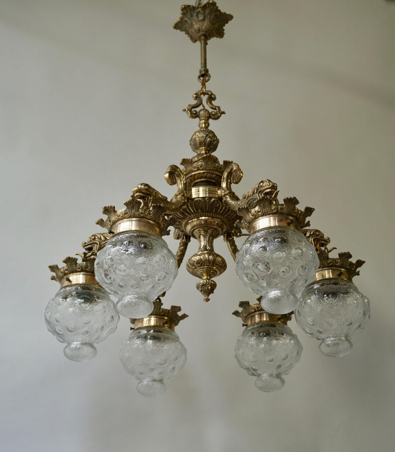 Italian Stunning Brass Chandelier in Gothic or Medieval Style with Dragon Sculptures For Sale