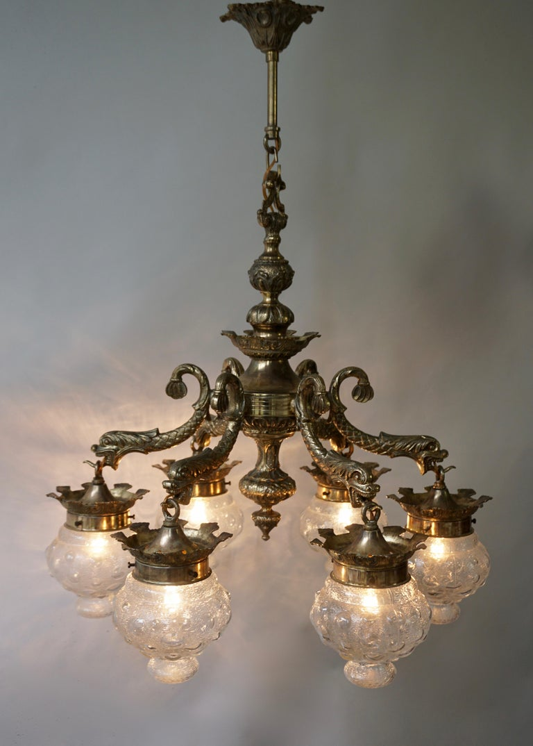 20th Century Stunning Brass Chandelier in Gothic or Medieval Style with Dragon Sculptures For Sale