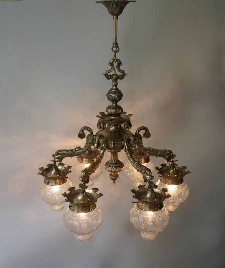 Stunning Brass Chandelier in Gothic or Medieval Style with Dragon Sculptures For Sale 2